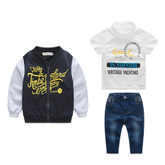 3pcs Kids Boys Outfits Baseball Coat T-shirt Tops Denim Pants Clothes Set