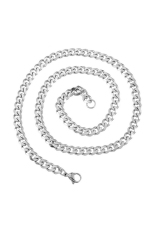 6.4mm Stainless Steel Cuban Curb Link Chain Necklace Silver Tone 52cm