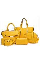 6pcs / Set Embossed Shoulder Bag Portable Messenger Bag Top HandleBag (Yellow) - Intl