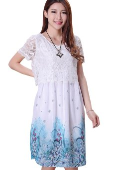5c09988f13 8120  Lace Chiffon Elegant Maternity Dresses Summer Short Sleeve Floral  Printed Clothes for Pregnant Women
