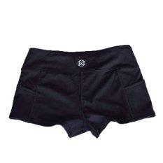 Active Elastic Waist Color Block Ladies Shorts Black (Intl)