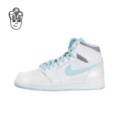 Air Jordan 1 Retro High Retro Basketball Shoes (White / White-Still Blue) 332148-106 - intl