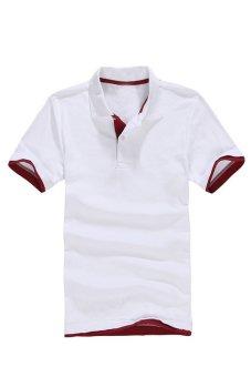 AJFASHION Men's Classic Lapel Polo T-shirt (White wine )