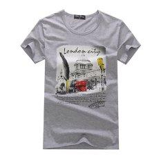 AJFASHION Mens Cotton Short Sleeve T-shirt (Gray)