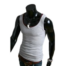 AJFASHION Mens Mixed Colors Sleeveless T-shirts (Light Gray)
