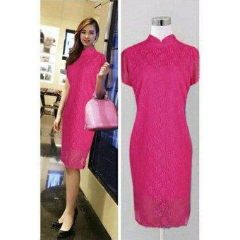 AK-258 Poppi Dress Pink Brukat Akiko Fashion