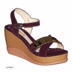 Aldhino Sepatu Sandal Wedges Wanita PN-17 - Maron