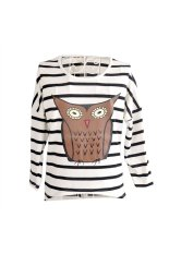 All-match Women's Girls Owl Print Round Collar Batwing Long Sleeve Loose Striped T-Shirt Tops - Size S Black + White