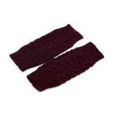 Allwin Fashion Unisex Men Women Knitted Fingerless Winter Gloves Soft Warm Mitten Wine Red