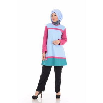 Alnita Blouse Atasan AA-02 Kaos Wanita Baju Muslim Tunik Kemeja Kaos Biru Muda