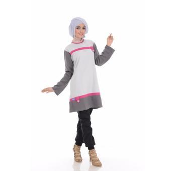 Alnita Blouse Atasan AA-02 Kaos Wanita Baju Muslim Tunik Kemeja Kaos Abu Muda