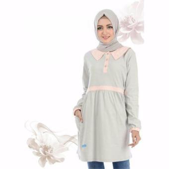 Alnita Blouse Atasan AA-12 Kaos Wanita Baju Muslim Tunik Kemeja Kaos Abu Muda
