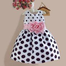 Amart Anak Balita Imut Gadis Gaun Princess Tanpa Lengan Bintik-Bintik Ikatan Simpul Berpakaian Anak-Anak Pakaian