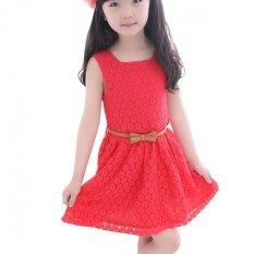Amart Anak Bayi Cewek rok tanpa lengan baju princess renda gaun musim panas yang baru dengan sabuk lucu