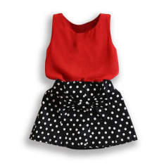 Amart Baby Girl Dress Set Sleeveless T-shirt+ Polka Dot Skirt Outfits Girls Clothes