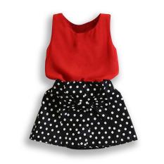 Amart Baby Girl Dress Set Sleeveless T-shirt+ Polka Dot Skirt Outfits Girls Clothes