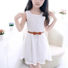 Amart bayi anak perempuan rok tanpa lengan baju Princess renda gaun musim panas yang baru lucu dengan sabuk - ต่าง ประเทศ