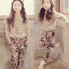 Amart Fashion Bayi Anak Perempuan Lengan Panjang Bergaris Baju Atasan + Celana Set Bunga