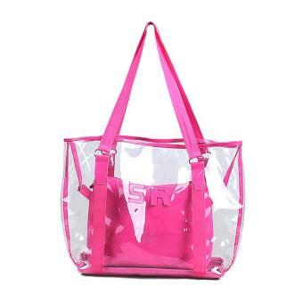 Amart fashion tas pantai jinjing wanita Jelly candy bening transparan (merah mawar)- International