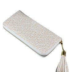 Amart Fashion Women Purse Gilt Pattern Zipper Wallet Handbag (White)
