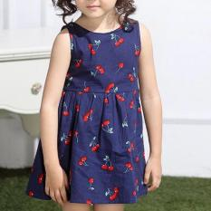 Amart Lucu Manis Gaun Putri Gaun Katun Bunga Cherry Fashion Anak Cewek Gaun