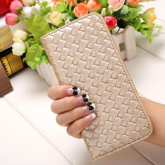 Amart PU Leather Clutch Wallets Hand Bag Change Purse(( Gold) -Intl