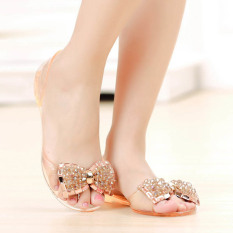 Amart Woman Flat Sandals Summer Shoes Bow Sandals Crystal Jelly Shoes Sexy Open Toe Beach Shoes (Intl) - Intl