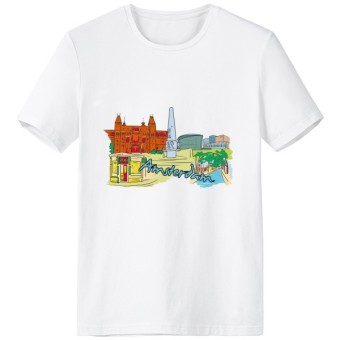 Amsterdam Vintage Illustration Spring and Summer Fashion Funny Design Tagless Label for Comfort Cotton Sports T-shirt - Intl