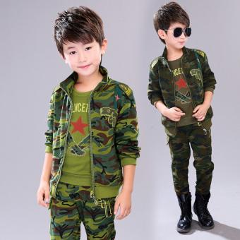 Anak laki-laki baru anak laki-laki seragam kamuflase anak-anak (Hijau