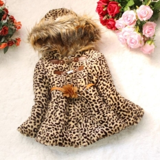 Anak Perempuan Bayi Macan Kerah Mantel Bulu Imitasi Fox Berkerudung Pakaian Musim Dingin Pake Baju Pakaian Jaket