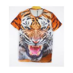Animal Prints 3D Lifelike Men Clothes Tshirt Casual Short Sleeve O-Neck Fashion Tops Men's T-Shirt (Intl)