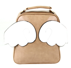 AOXINDA Kid Girl PU Sweet Cute Solid Wing Pattern Shoulder Bag Zipper Closure Handbag Messenger Bag- Brown - Intl