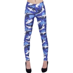 AOXINDA New Printed Fashionable Women's Shark Pencil Tight Pants Printed Stretch Leggings - Intl