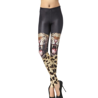 AOXINDA New Printed Fashionable Women's Two Tigers Pencil Tight Pants Printed Stretch Leggings Size M - Intl