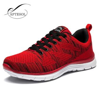 APTESOL Running Shoes For Mens Outdoor Sport Brand Air MeshBreathable Sneakers Super Light Damping Soft Lace Up Shoes(Red) -intl