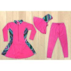 Ariza Sport Baju Renang Muslimah Anak-Pink Motif Batik