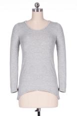 Astar Korea Women Long Sleeve T-shirt Fashion Front Pocket Irregular Soft Top (Grey) - Intl