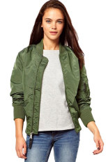 Astar Ladies Sport Casual Classic Zip Up Biker Jacket Baseball Jacket (Army Green) - Intl - Intl