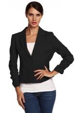 ASTAR Meaneor Ladies Women Lapel Neck Long Sleeve Draped Decor One Button Slim Casual Office Coat Blazer (Black) (Intl)