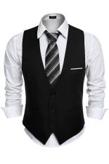 ASTAR Men's Business Slim Fit Skinny Vest Waistcoat ( Black )