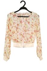 ASTAR Women Fashion Long Sleeve Floral Print Shrug Short Jacket (Beige)