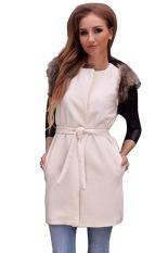 Astar Women Ladies Fur Sleeveless Warmer Vest Waistcoat Gilet Sleeveless Jacket Outwear Coat (White) (Intl)