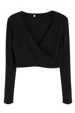 Astar Women Ladies Long Sleeve Wrap Crop Top Shirt Short Mini Blouse T-shirts (Black) (Intl)
