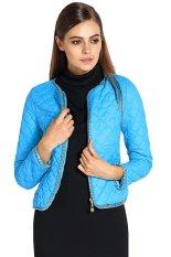 ASTAR Women V-neck Long Sleeve Short Slim Fit Padded Jacket Sky Blue