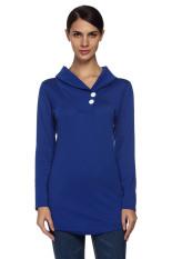 Astar Women's Casual Shawl Collar Long Sleeve Tunic T-shirt (Blue)
