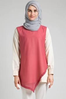 Atasan Kemeja Blouse Tunik Musoffia Inara Top Two Tone Dua Warna Polos Pink Krem Beige