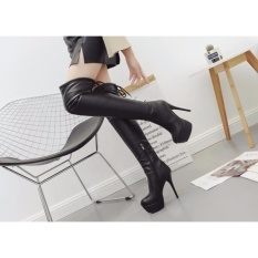 Autumn and winter large size high boots high heeled shoes sexy female club with a fine son waterproof boots knee -black - intl