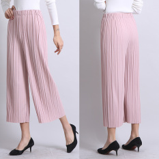 Autumn New And Fashion Loose Straight Ankle-Length Striped Pleated Wide Leg Pants Korean Style Pink Black Slim Casual Culottes Pants Plus Size
