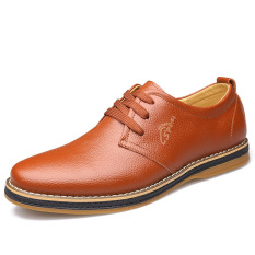Autumn New Men's Business Casual Breathable Lace-up Leather Shoes (Brown) - Intl