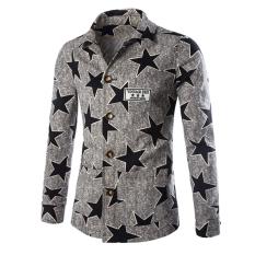 Autumn New Men's Casual Slim Coat Jacket Youth Grey (Intl)